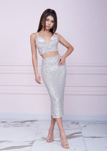 MALLINY STAR Silver Sequin Two-Piece Set