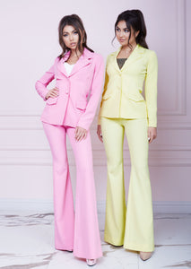 Pink Slim Fit Flared Trousers