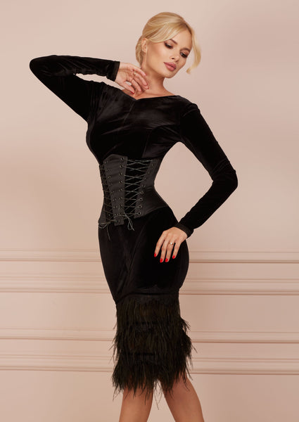 MALLINY Waist-Shaping Royal Black Corset