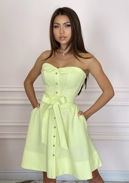 LADY MALLINY LEMON Bustier Midi Dress