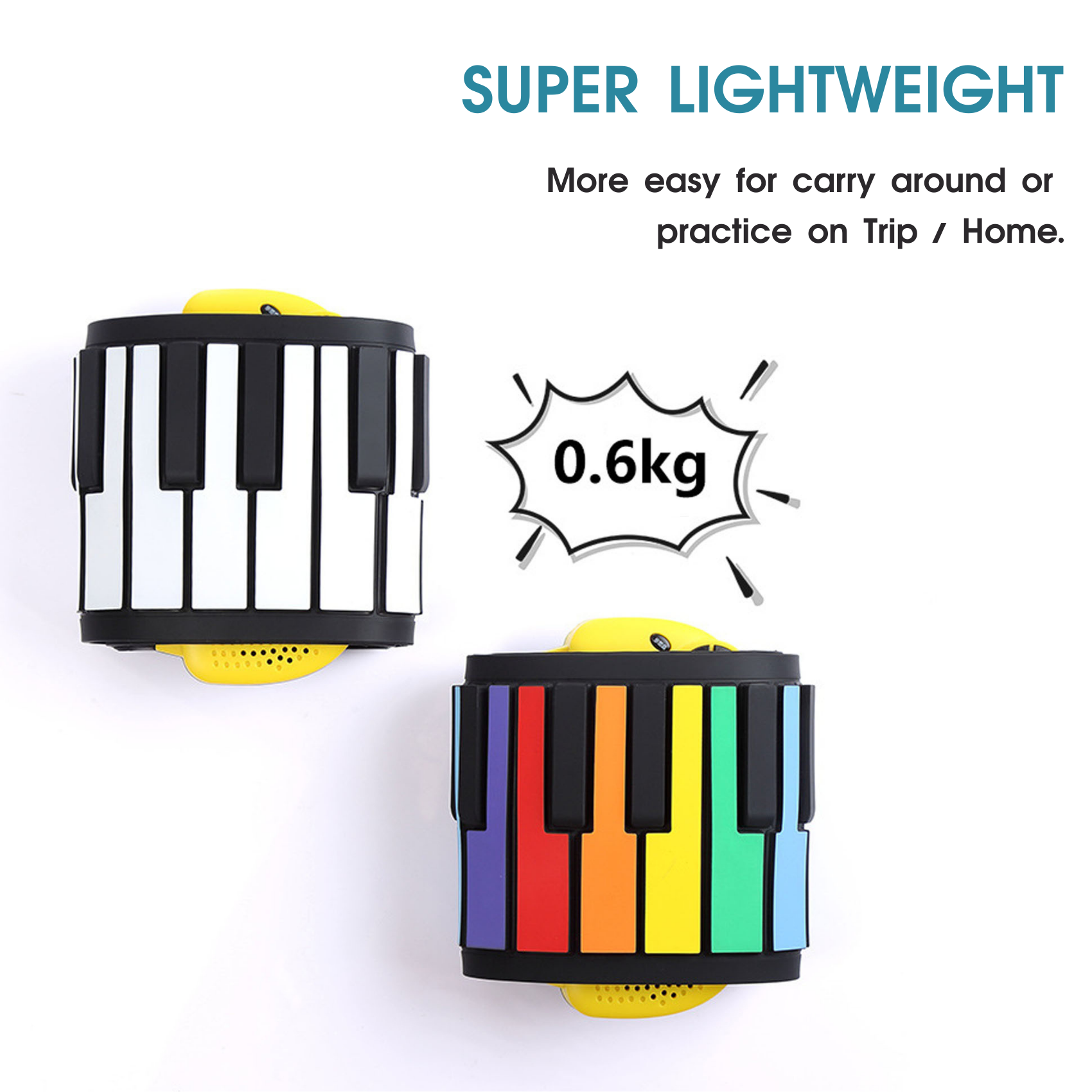 DigitalLfie RP49P2-C Portable Roll Up Electronic 49 Keys Silicone Piano with Speaker