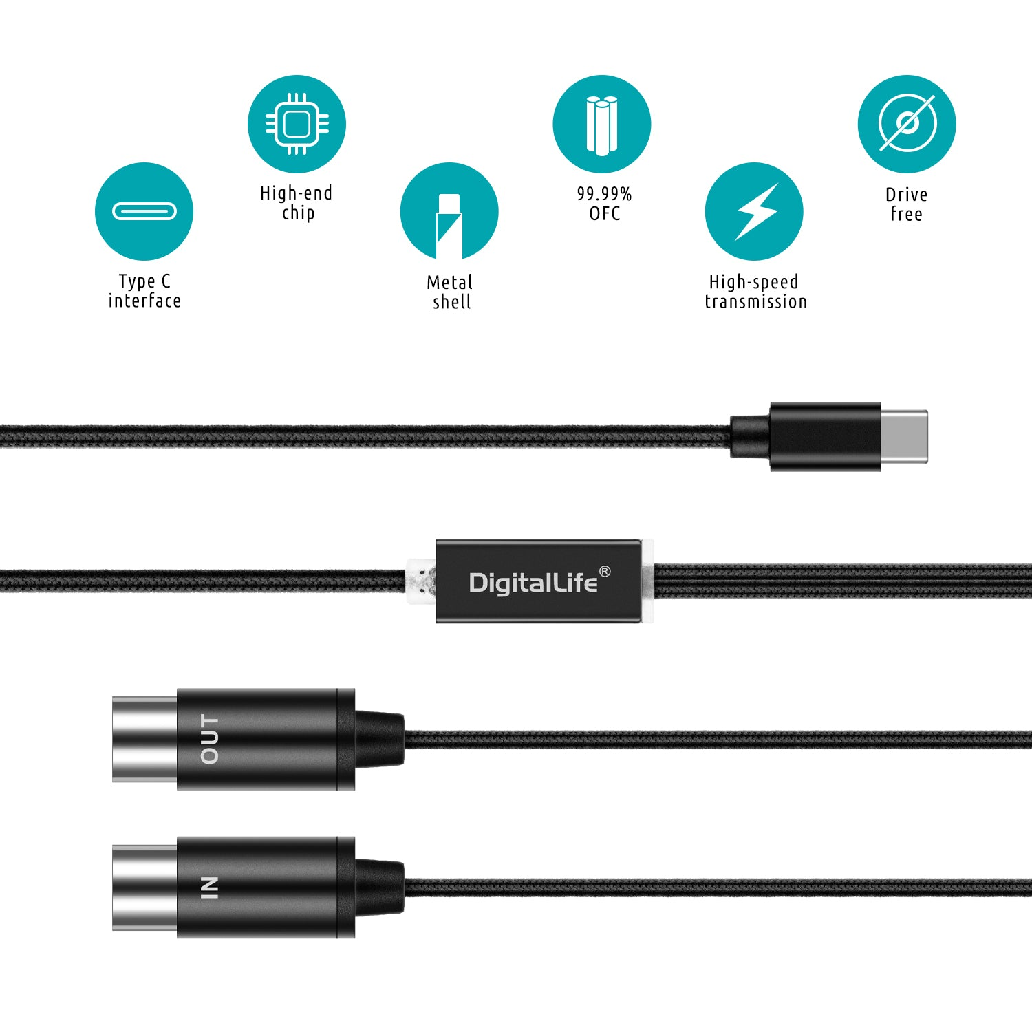 DigitalLife MD1002 Type-C USB-C-MIDI interface - [USB-C]