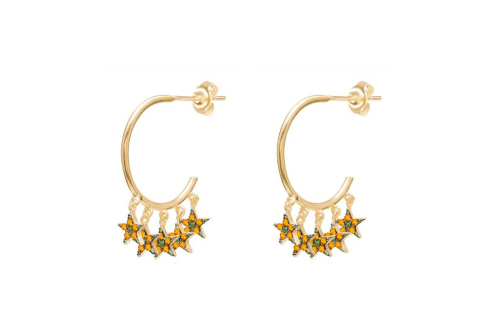 Stenberg CZ Gold Amber Multi Star Hoop Earrings - Boho Betty