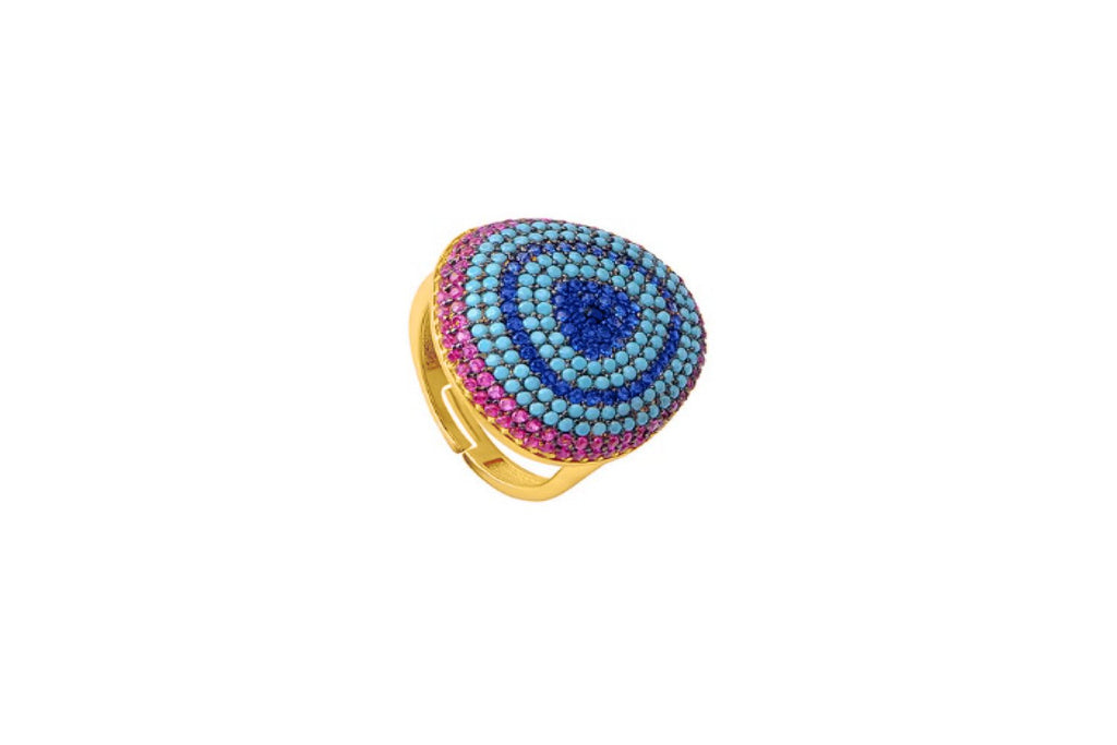 Cabello Gold Blue CZ Beaded Ring - Boho Betty