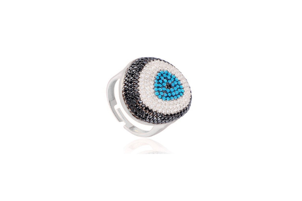 Cabello Silver Blue CZ Beaded Ring - Boho Betty