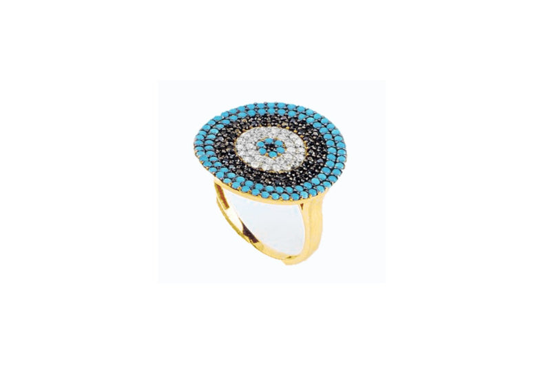 Goulding CZ Gold Blue Beaded Ring - Boho Betty