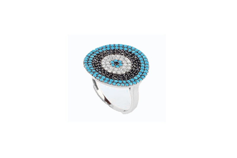 Goulding CZ Silver Blue Beaded Ring - Boho Betty