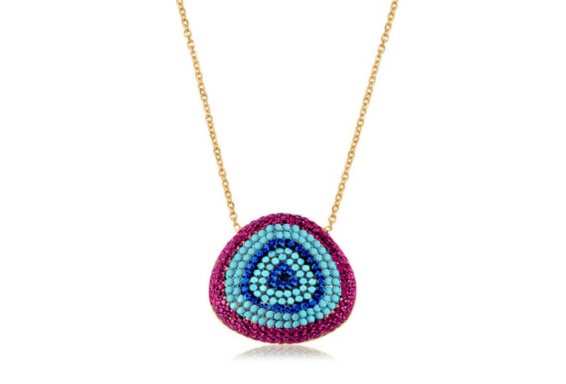 Tanqueray Gold CZ Blue Beaded Necklace - Boho Betty
