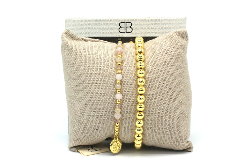 Bells Gold 2 Layered Bracelet Stack - Boho Betty