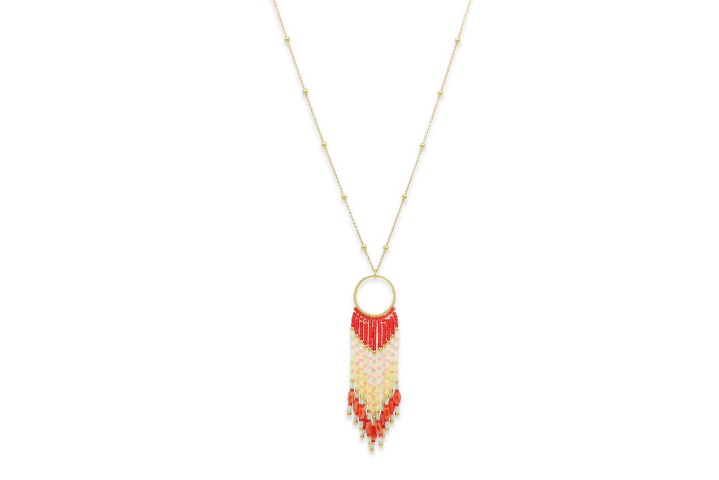 Adrastea Coral Beaded Tassel Necklace - Boho Betty