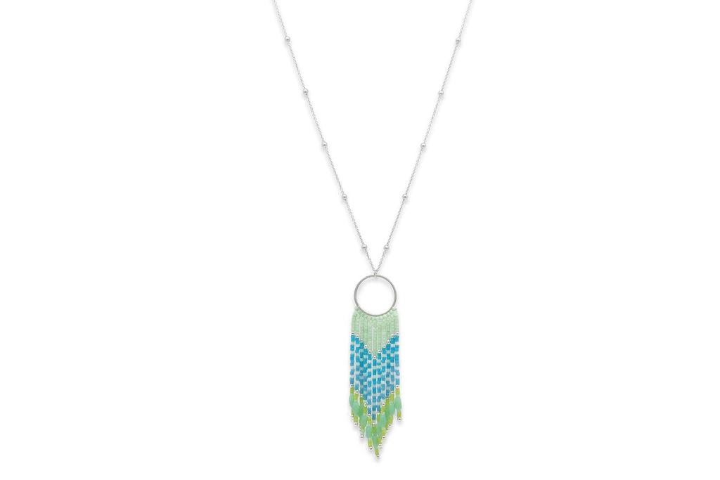 Adrastea Mint Green Beaded Tassel Necklace - Boho Betty
