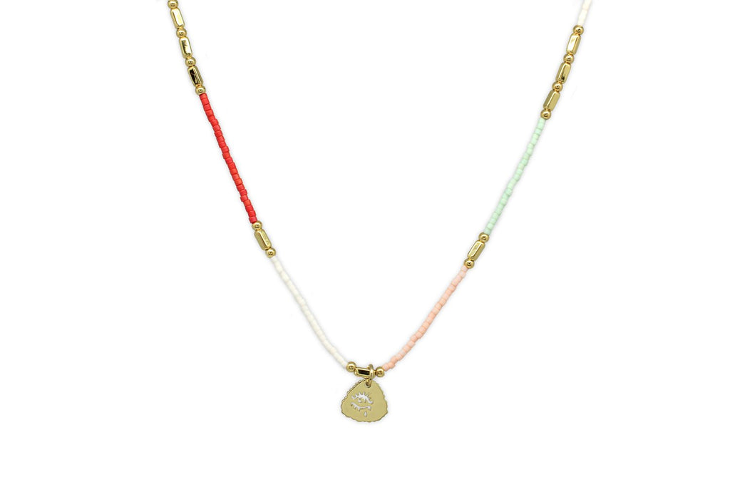 Apollo Coral & Pastel Bead Short Necklace - Boho Betty