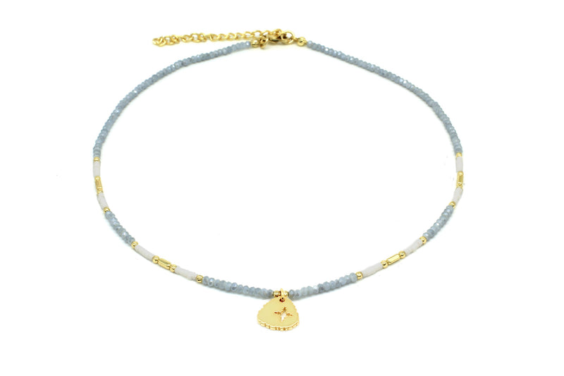 Apollo Grey & Gold Bead Short Necklace - Boho Betty