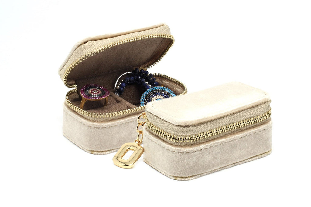 Clovelly Taupe Velvet Mini Jewellery Box - Boho Betty