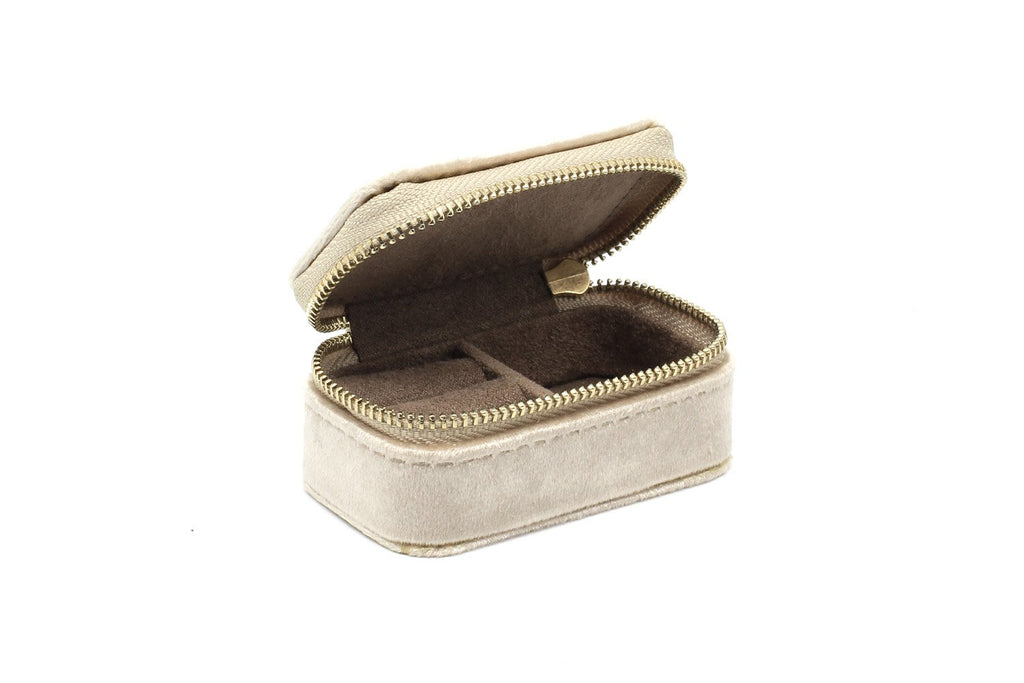 Clovelly Taupe Velvet Mini Jewellery Box - Boho Betty USA