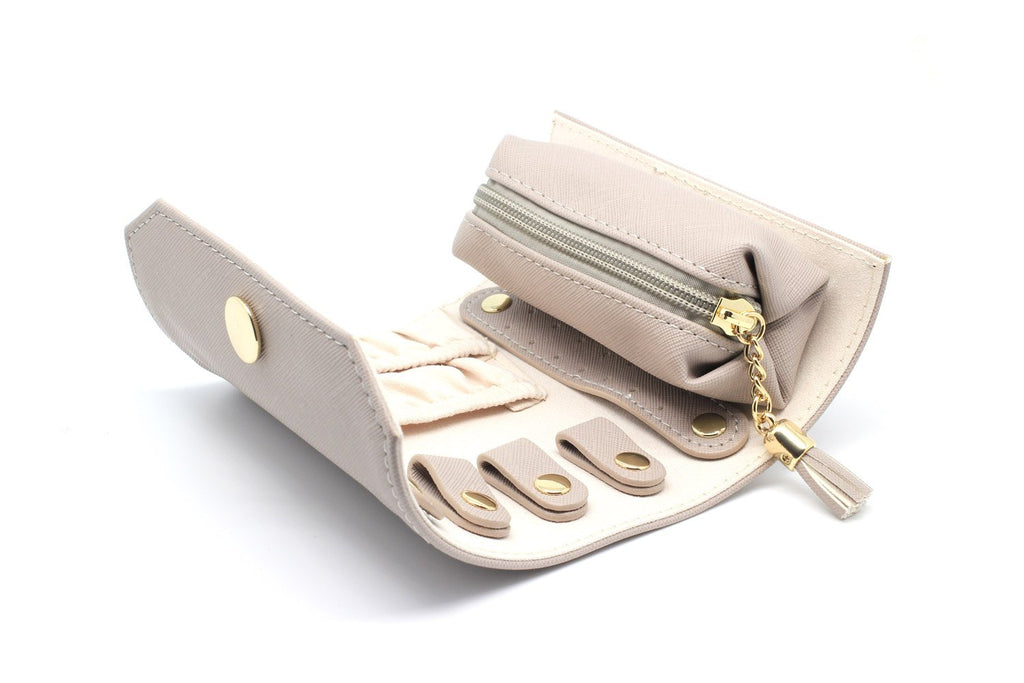 Mortella Taupe Jewellery Roll - Boho Betty USA