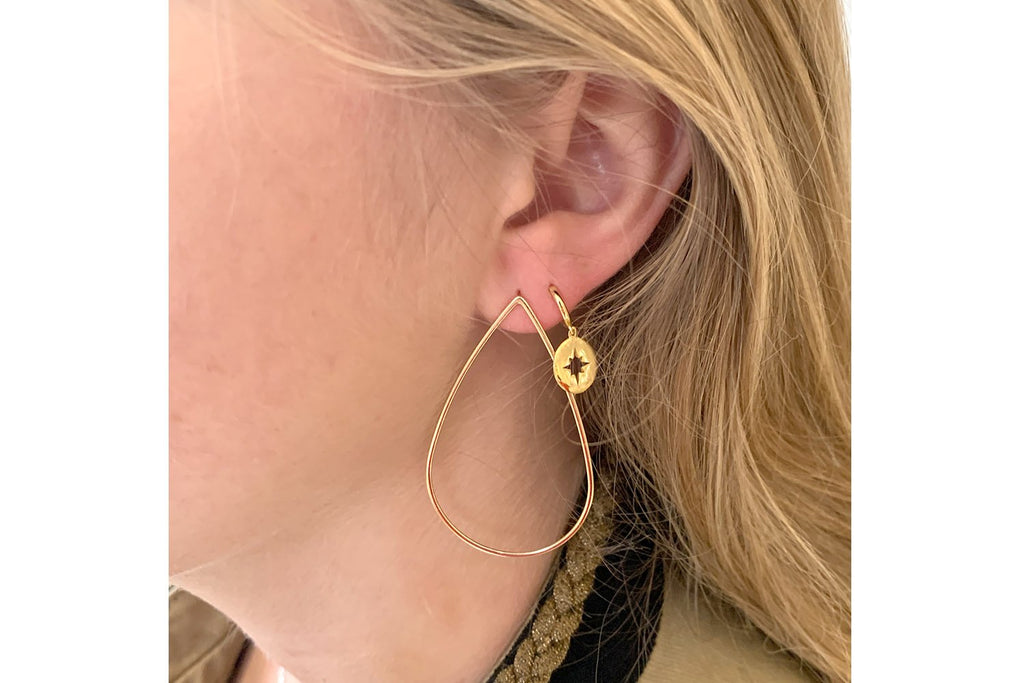Lamba Gold Compass Star Earrings - Boho Betty