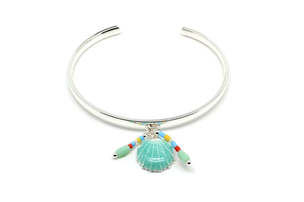 Bilimbi Mint Green Shell Charm Bangle - Boho Betty