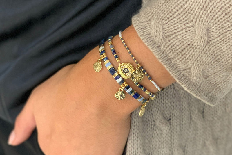 Karachi Navy 3 Layered Bracelet Stack - Boho Betty