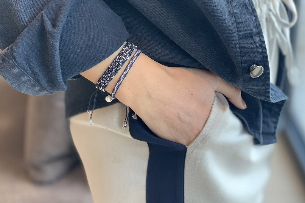 Milan Navy 2 Layered Bracelet Stack