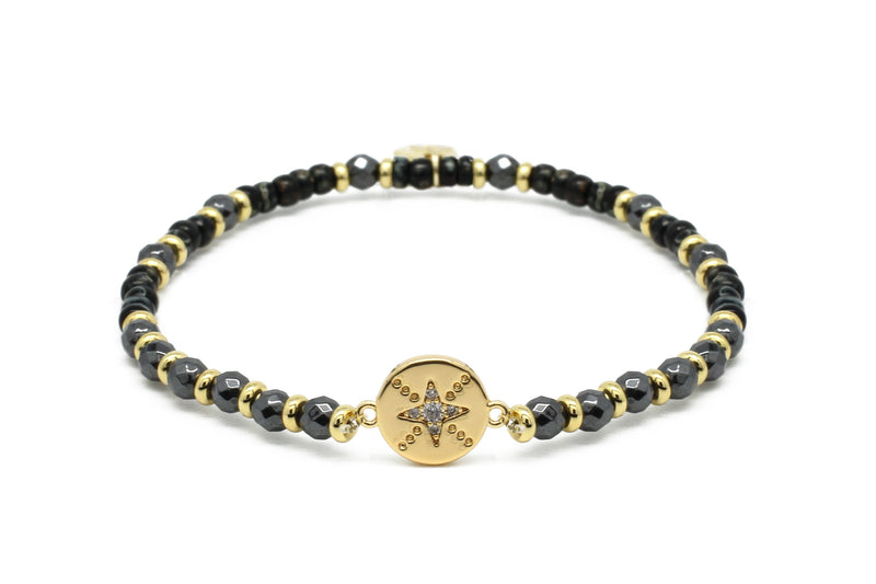 Carimba Black & Gold Gemstone Stretch Bracelet