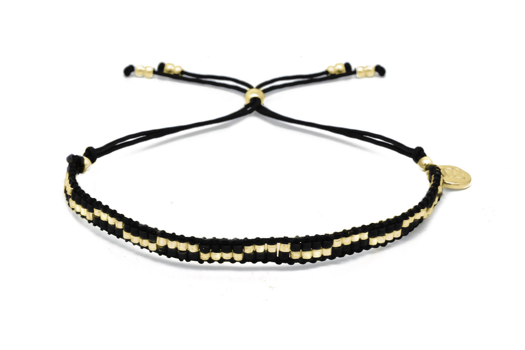 Carnival Black & Gold 2 Row Beaded Friendship Bracelet