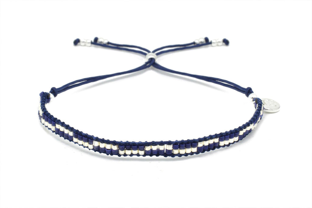 Carnival Navy Blue & Silver 2 Row Beaded Friendship Bracelet