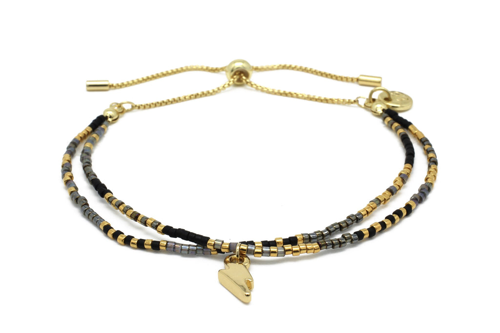 Clarinet Black Gemstone Bracelet with Lightning Bolt Charm
