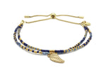 Clarinet Navy Blue Gemstone Bracelet with Wing Charm