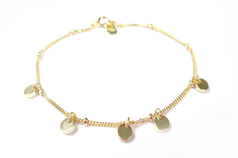 Cornflower Gold Mini Disc Charm Bracelet - Boho Betty