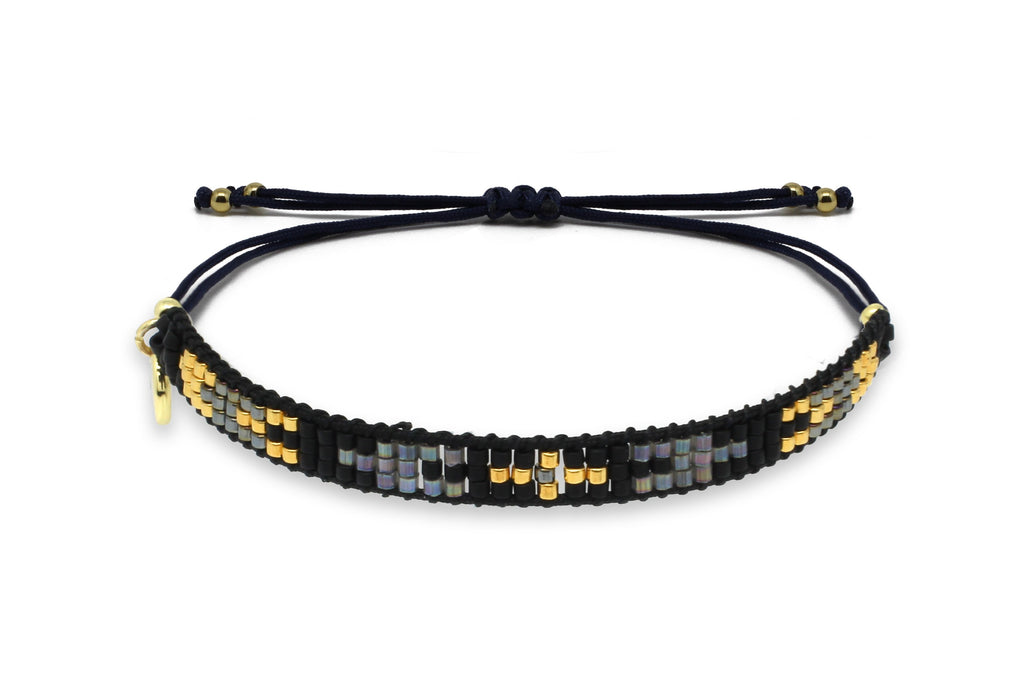 Creole Black & Gold 3 Row Friendship Bracelet