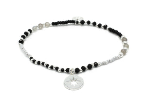 Flute Black & Grey Gemstone Stretch Bracelet