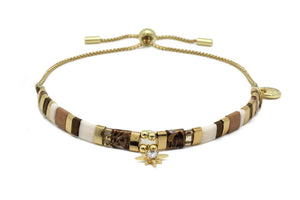 Jezebel Earth Toned Tila Bead Charm Bracelet