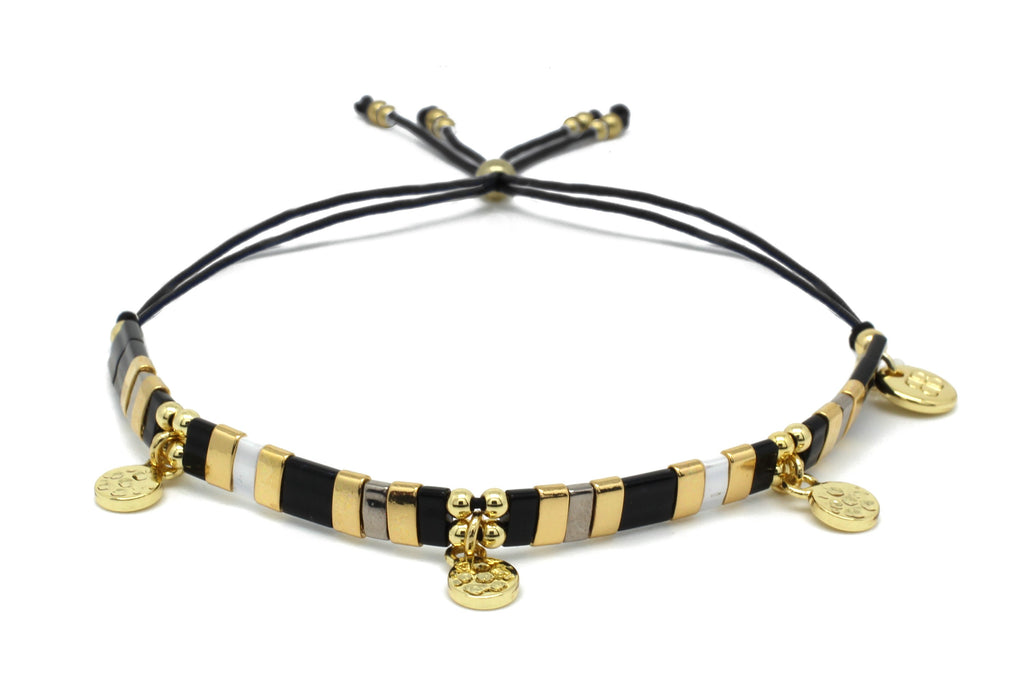 Mirage Black & Gold Tila Bead Charm Friendship Bracelet