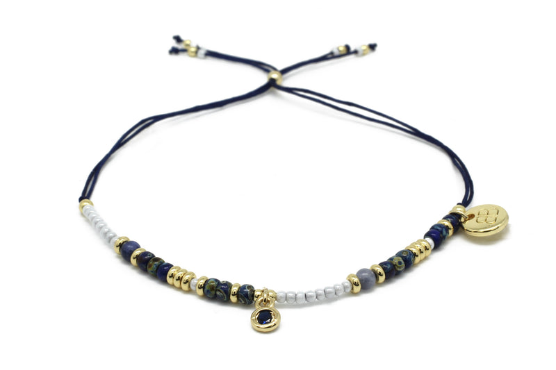 Paradise Navy Blue & Gold Beaded Friendship Bracelet