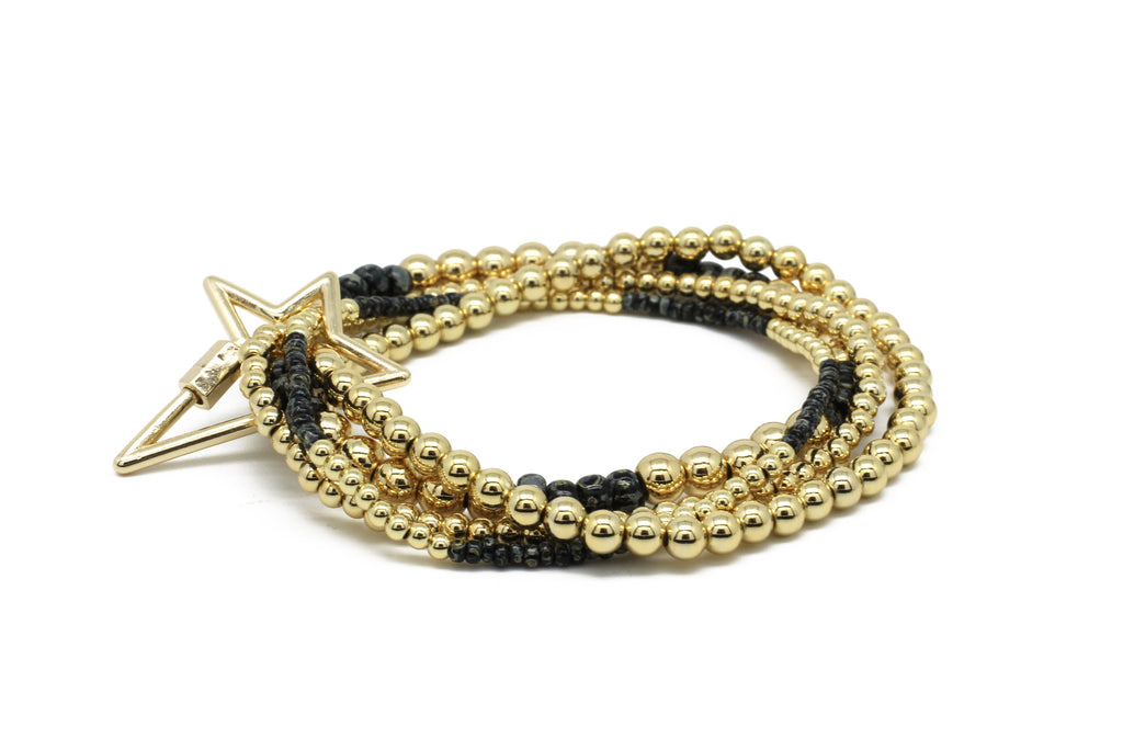 Slide 4 Layered Gold & Black Bracelet Stack with Star Fastener