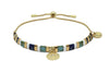 Valleri Teal & Gold Tila Bead Pull Through Bracelet