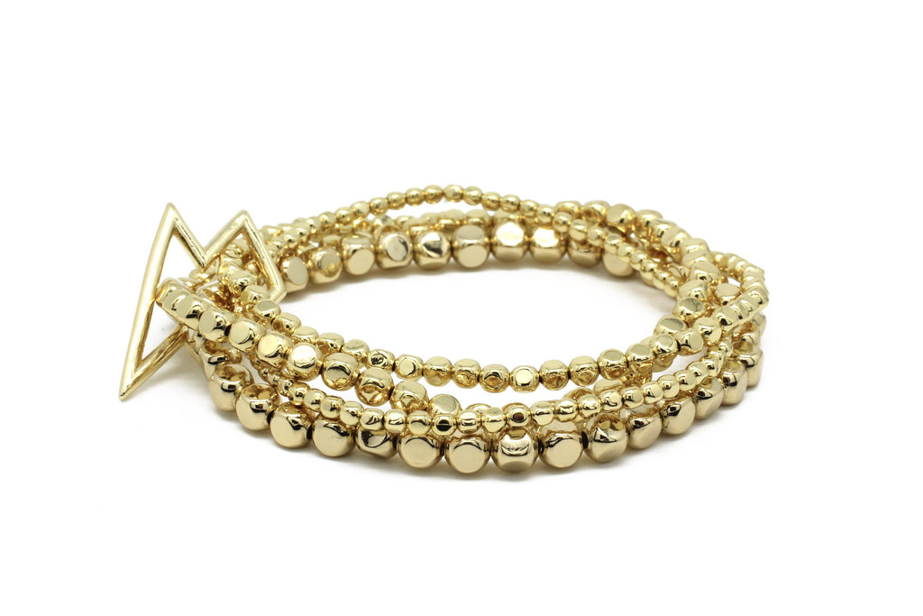 Whistle 4 Layered Gold Bracelet Set with Star Fastener