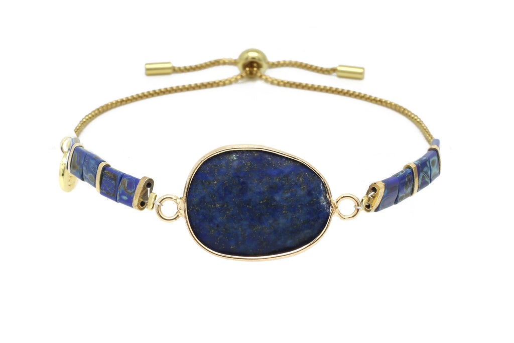 Wonder Midnight Lapis Gemstone Tila Bead Bracelet