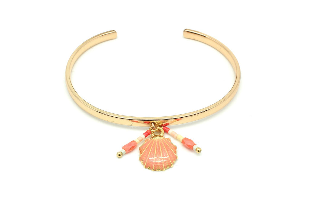 Bilimbi Coral Shell Charm Bangle - Boho Betty