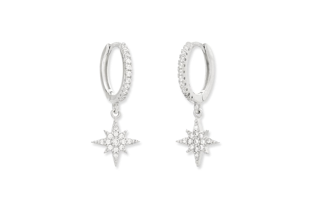 Cohan CZ Sterling Silver Star Hoop Earrings - Boho Betty