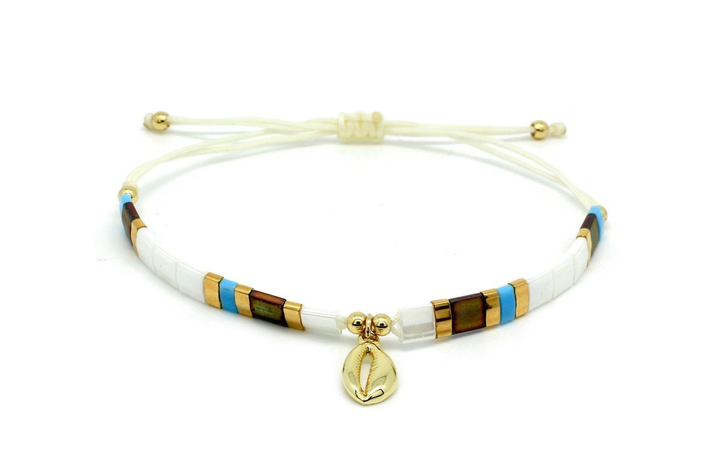 Casimiora White Tila Bead Shell Friendship Bracelet - Boho Betty