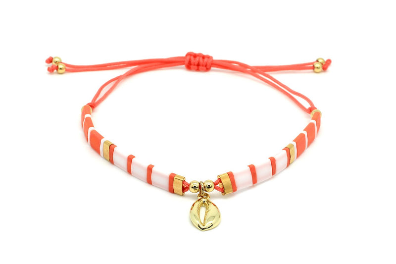 Casimiora Orange Tila Bead Shell Friendship Bracelet - Boho Betty USA