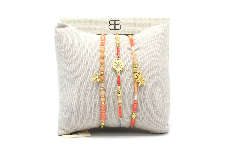 Cayo Coral 3 Layered Bracelet Stack - Boho Betty