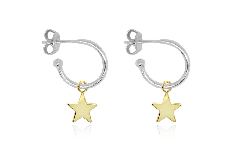 Dushku Silver Star Charm Hoop Earrings