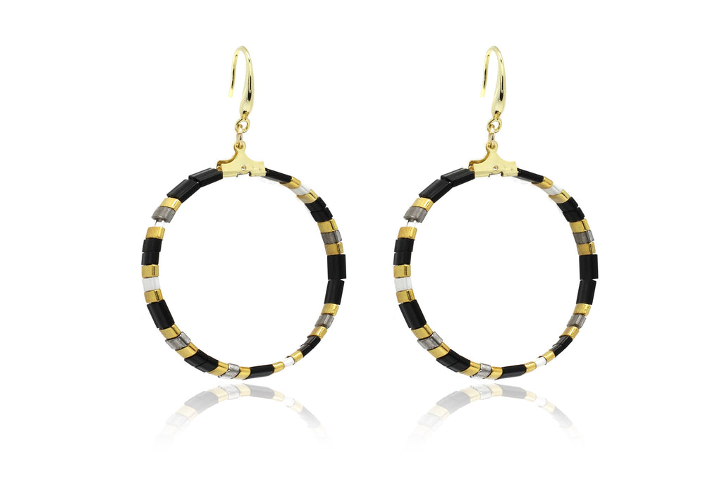 Ella Tila Black Hoop Earrings