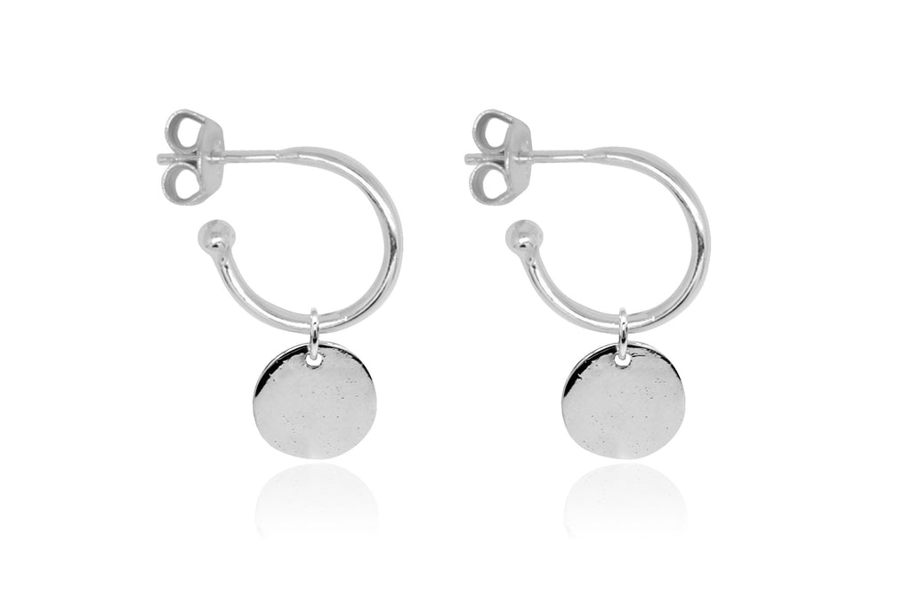 Garo Silver Disc Charm Hoop Earrings