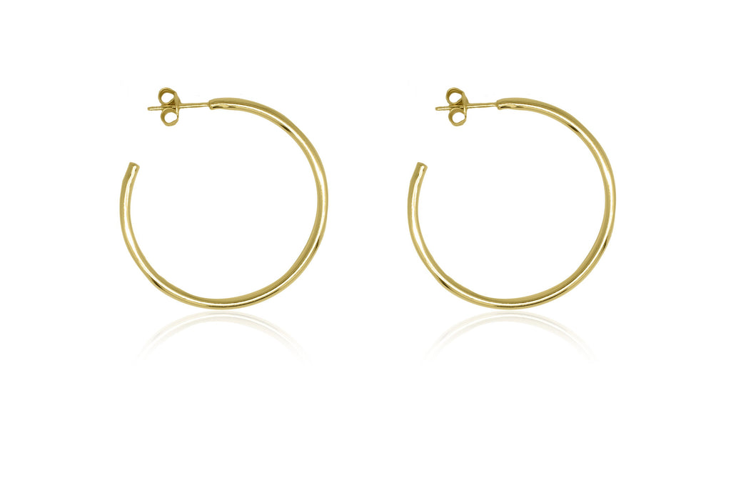 Julin 34mm Gold Plain Hoop Earrings