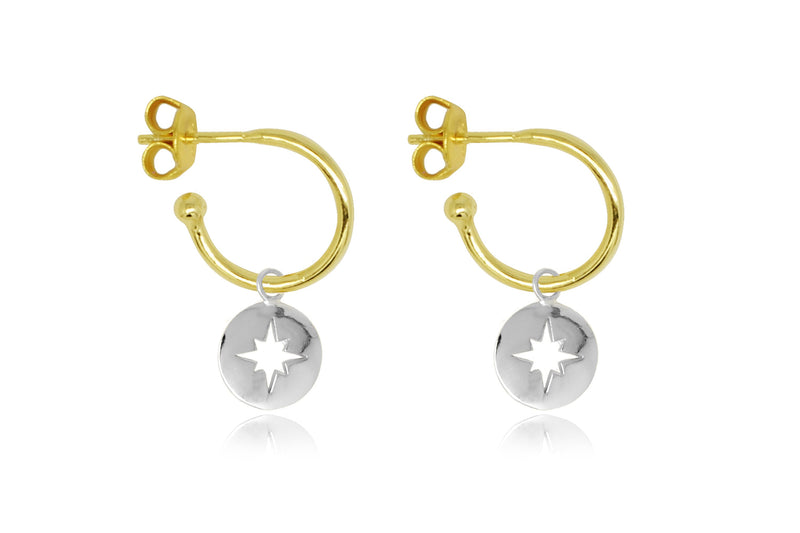 Mack Gold Starburst Charm Hoop Earrings