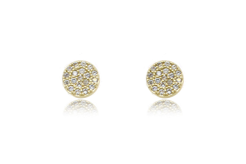Ranaut Clear CZ Gold Stud Earrings